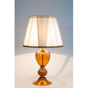 ... 1980s Italian Table Lamp In Murano Glass Amber And 24 Karat Gold, 1980s