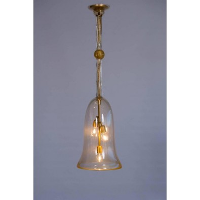"Italian Chandelier ""Bell Jar"" in Murano Glass Transparent and 24-Carat Gold"