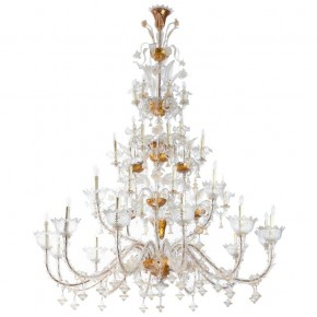 Italian Ca' Rezzonico Chandelier in 24-Karat Gold Murano Glass, Pauly & Co 1950s