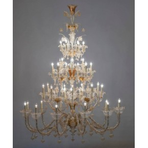 Italian Ca' Rezzonico Chandelier in Murano Glass 24-Karat Gold, Pauly & Co 1950s