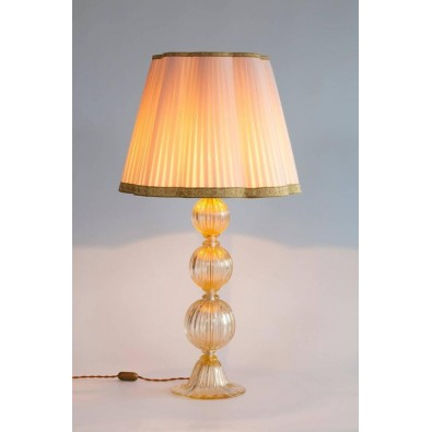 Pair of Italian Table Lamps in Murano Glass 24-Karat Gold, 1980s
