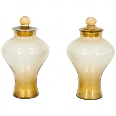 Pair of Italian Vases in Transparent Murano Glass and 24-Karat Gold