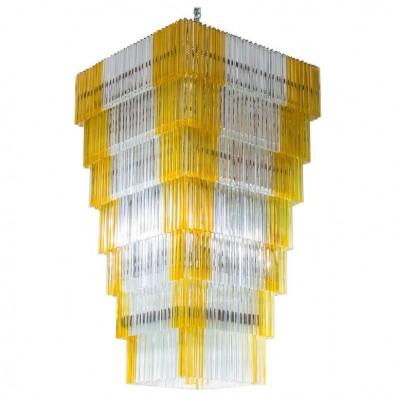 Italian Chandelier in Murano Glass with Triedro Elements, Venini, 1960s