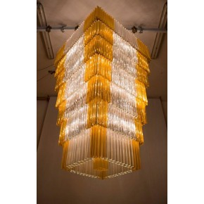 Italian Chandelier in Murano Glass with Triedro Elements, Venini, 1960s