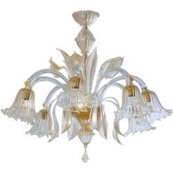 Gold Italian Murano Glass Chandelier, Circa 1990s