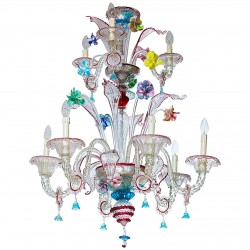 Chandelier in Transparent with Multicolored finishes, circa 1950s