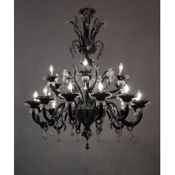 Italian Black and Transparent Chandelier, circa 1990s