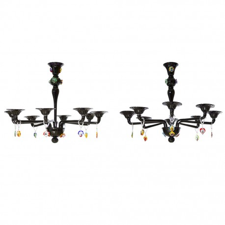 """Pair of Italian Chandeliers with """"Picasso Sculpture"""" in Cenedese Style"""