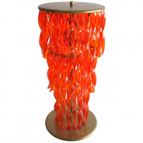 Italian Floor Lamp with Twisted Glass in Light Orange, from circa 1955s