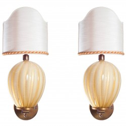 Pair of Italian Murano Glass Sconces, Barovier & Toso 1950s