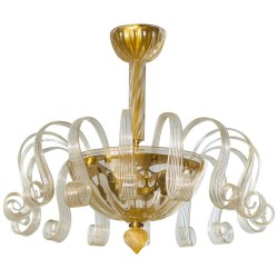 Italian Gold Murano Glass Chandelier, Circa 1980s