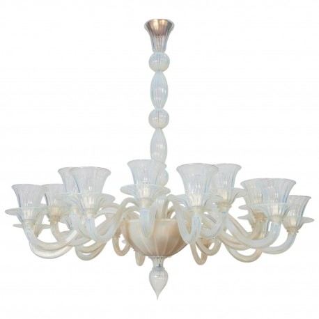 Italian Opaline Chandelier in the Style of Formia, circa 1980s