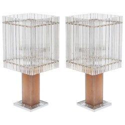 Pair of Italian Murano Glass Table Lamps, Circa 1980s