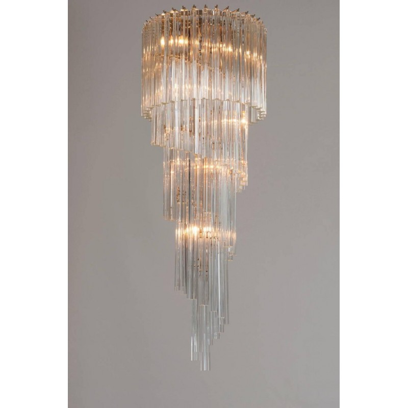 ceiling fixture flush from chandelier spiral long lights item rain mount modern light chandeliers in hanging for lighting staircase high suspension crystal drop stair